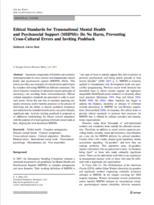 Ethical Standards for Transnational MHPSS