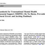 Ethical Standards for Transnational Mental Health and Psychosocial Support (MHPSS)